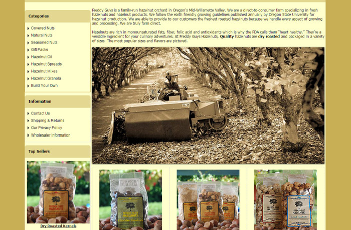Web Design: Freddy Guys Hazelnuts E-Commerce