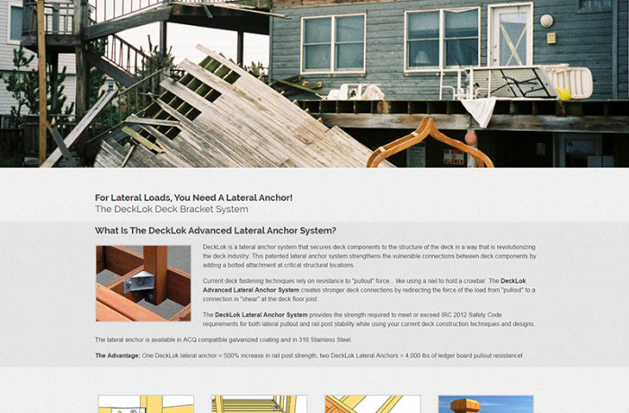 Web Design: DeckLok Lateral Anchor