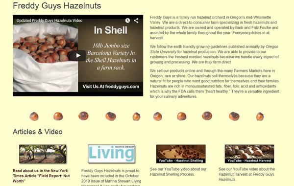 Web Design: Freddy Guys Hazelnuts