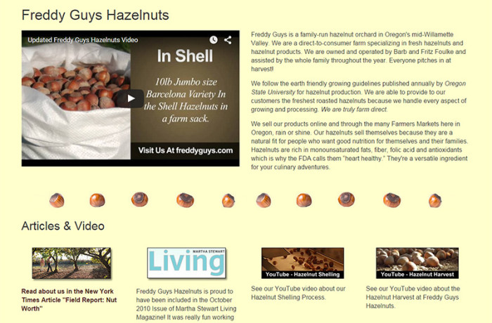 Web Design: Freddy Guys Hazelnuts